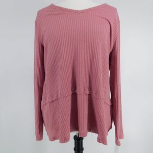 💝Style & Co Women Sweater XL Pink Top Long Sleeve